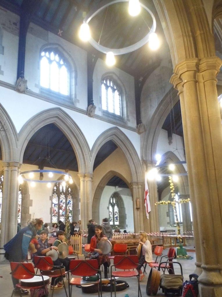 Frame drumming inside Heptonstall Church
